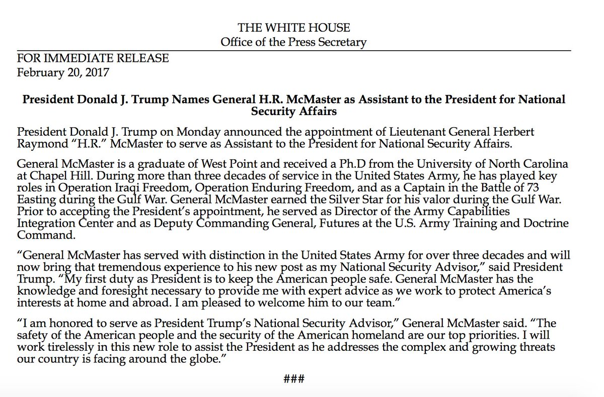 Pres. Trump officially names General H.R. McMaster as Assistant to the President for National Security Affairs. https://t.co/8G8uk7dlAf