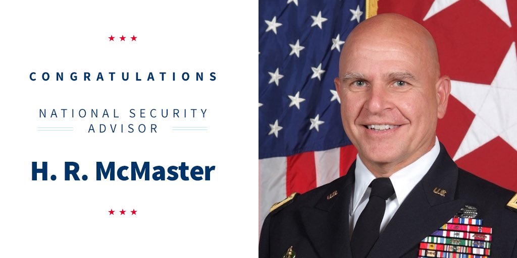 Congratulations to our new National Security Advisor, General H.R. McMaster!