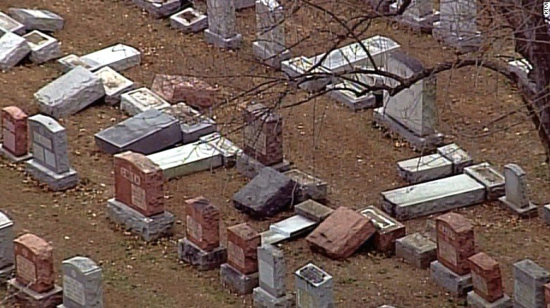 Police in Missouri say vandals toppled and damaged about 100 headstones at a historic Jewish cemetery. https://t.co/Lg1tdjgmxg