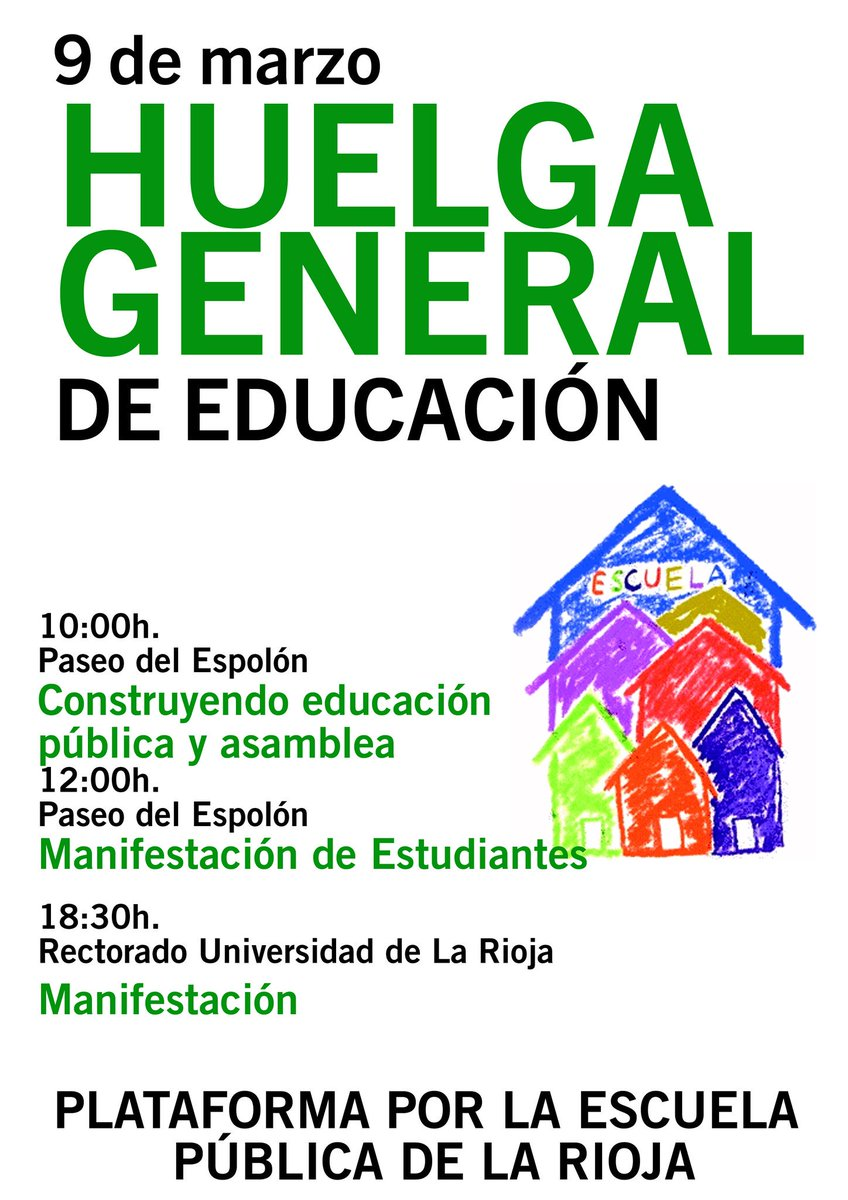 RT @iurioja: 9 de marzo, Huelga General de Educación. https://t.co/kDR2zSG83z