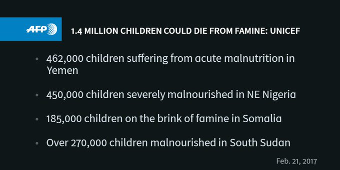 Severe malnutrition threatens the lives of children in Nigeria, Somalia, South Sudan and Yemen, UNICEF says https://t.co/TTFpdfuAOq