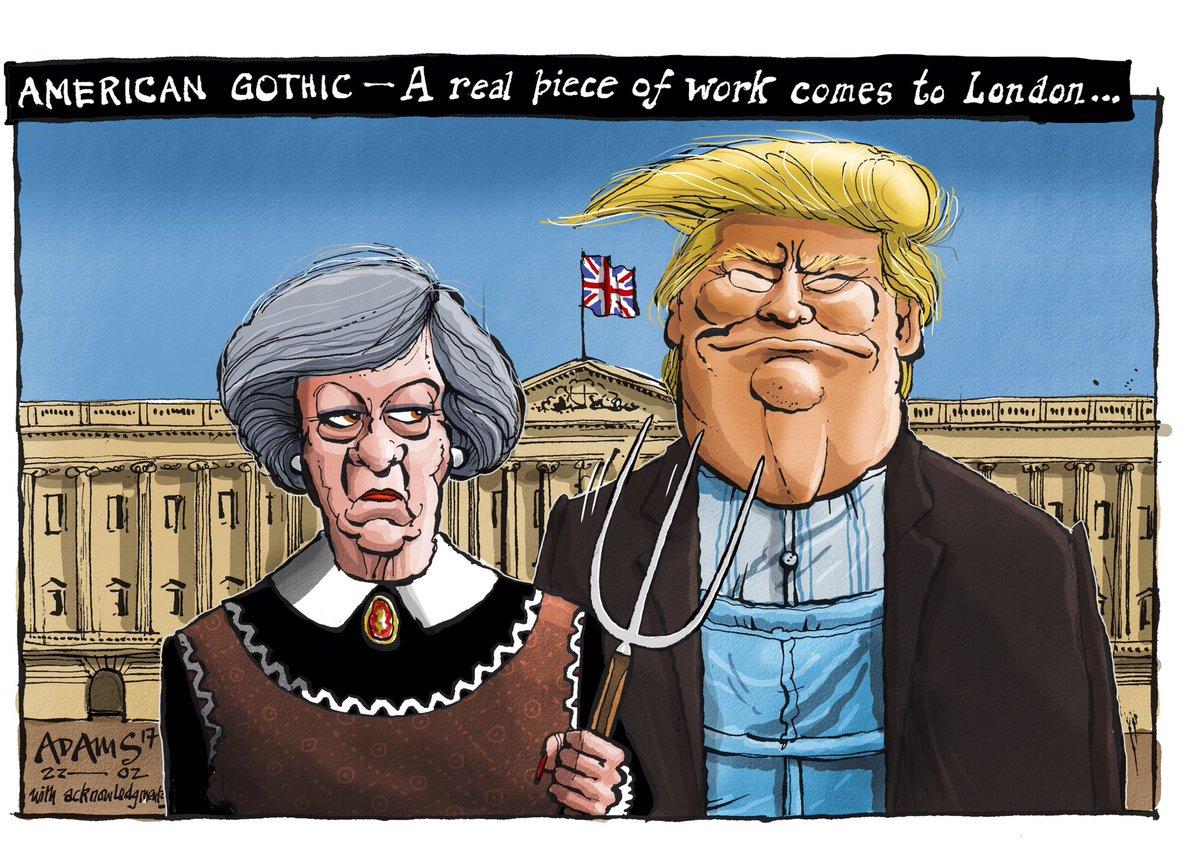 Heres My Americangothic Royalacademy TheresaMay Trump Telegraph Cartoon