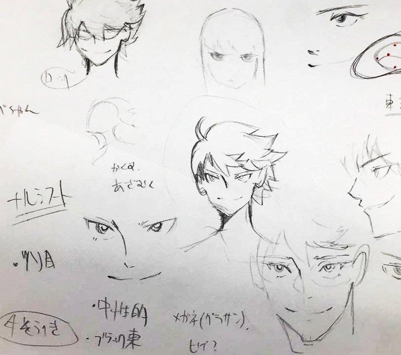 【キャラクター解説】新走の一番最初のラフ。当初のイメージはカヲ〇君や手塚治虫先生のロックでしたが、他のキャラとのバランス