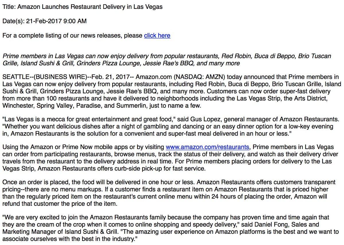 Inbox Amazon Launches Restaurant Delivery In Las Vegas Scoopnestcom