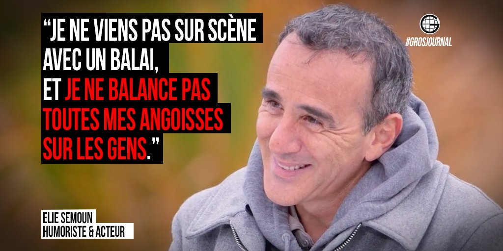 «Je ne viens pas sur scène avec un balai, je balance pas mes angoisses sur les gens.» - @SemounElie au #GrosJournal https://t.co/qV2XvTehYR