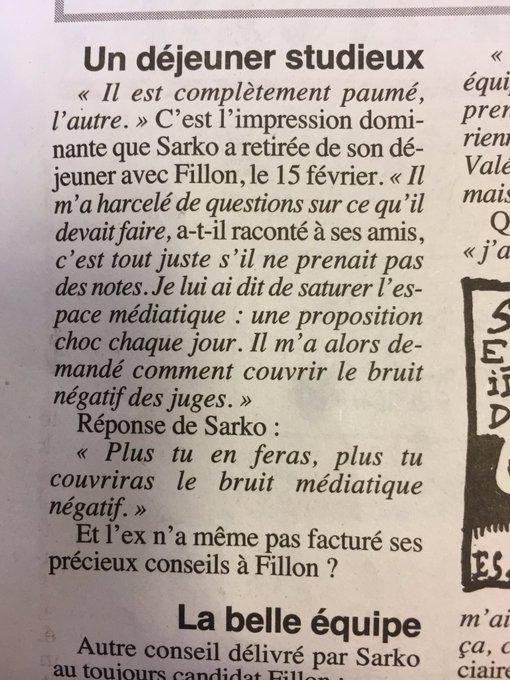 'Il est complètement paumé, l'autre'. Sarkozy à propos de son déjeuner avec Fillon. Dans le @canardenchaine demain
