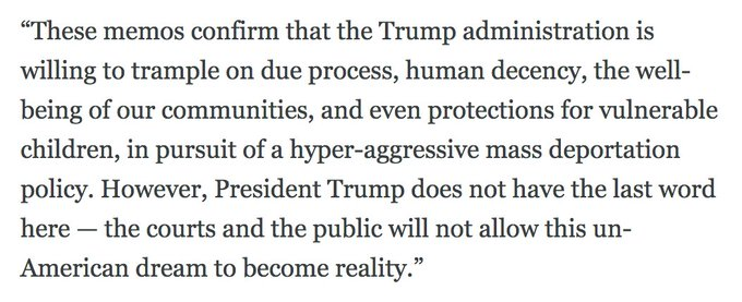 """MORE: @ACLU on new DHS memos: 'The courts and the public will not allow this un-American dream to become reality."""" https://t.co/L1BiOCE4xM"""