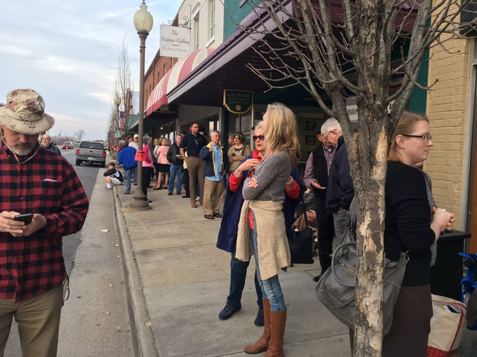 Virginia GOP Rep. Dave Brat is having a town hall in a small town away from his population centres. Fifty people in line two hours prior.