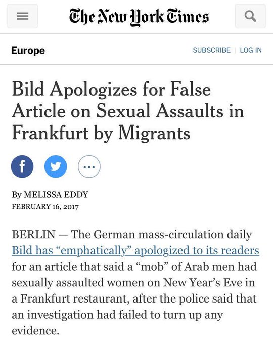 This was a major story about sexual assault by refugees in Germany.  Turns out it's not true.