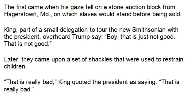 According to Alveda King, this is how President Trump reacted to the slavery exhibit yesterday: https://t.co/UA24mjQCRQ