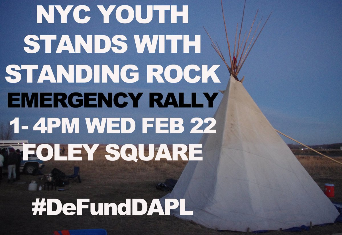 RT @leemzee: Emergency #NoDAPL rally going down in NYC today! 1pm Foley Sq.  https://t.co/zrlN0vzJwi https://t.co/3ggRBWmHJT
