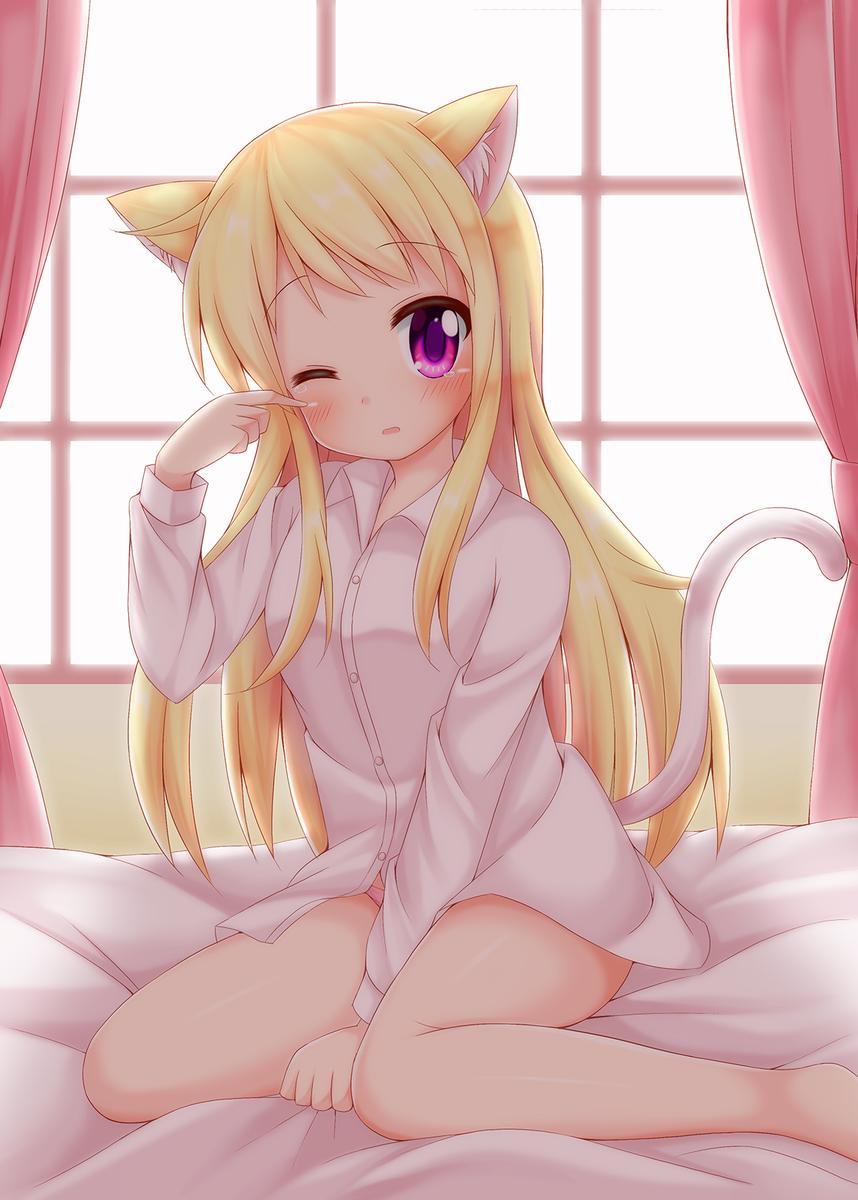 『お…おはよう…ご…ごじゃいマース…すやー…』今年カレンちゃん14枚目は、猫の日にちなんで寝起き猫耳のカレンちゃん!#9
