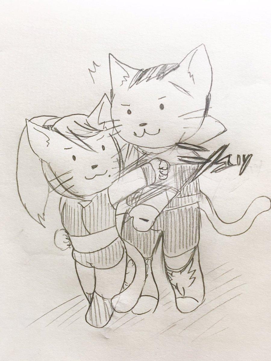 猫の日なので擬ねこ化ファルサムです(超らくがき) ファルコンさんが戯れに後ろから抱きつこうとするも、条件反射でネコパンチを繰り出すサムスさんです