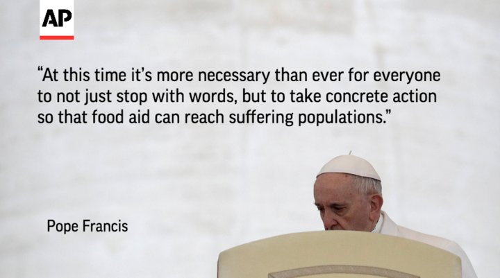 Pope Francis demands action to get food aid to South Sudan famine victims.