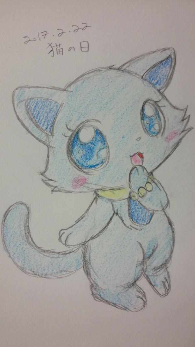 【落書き】猫の日らしいので、ラピスさん。ジュエルペットの猫の中でもラピスはあまり描かないかも。