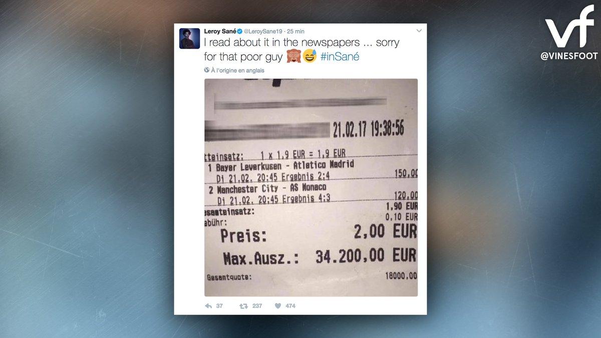 Un parieur aurait empoché 34.200€ si Leroy Sané n'avait pas marqué le cinquième but de Manchester City hier soir. Le joueur s'est excusé.