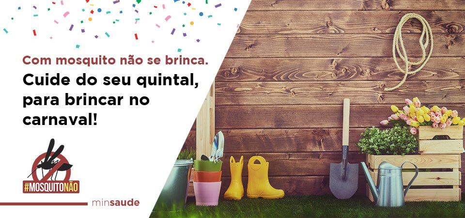 Eliminar, vedar e cuidar. Antes de viajar p/ Carnaval limpe o jardim e aproveite a folia s/ preocupação #MosquitoNão