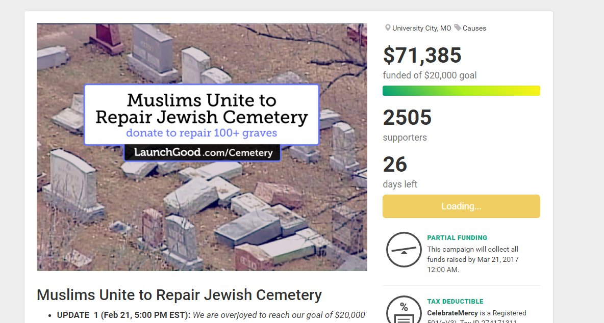 Muslim-American groups start fundraiser to help vandalized Jewish cemetery near St. Louis; more than $71,000 raised. https://t.co/erM9eDgOZp