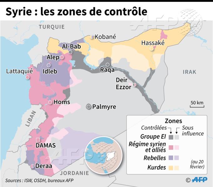 Les zones contrôlées par les différents belligérants en Syrie, au 20 février #AFP par @AFPgraphics