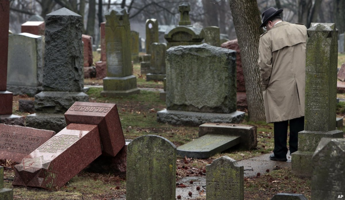 Vandals damaged or tipped over as many as 200 headstones at a Jewish cemetery in suburban St. Louis. https://t.co/Vm1hvu4JX0