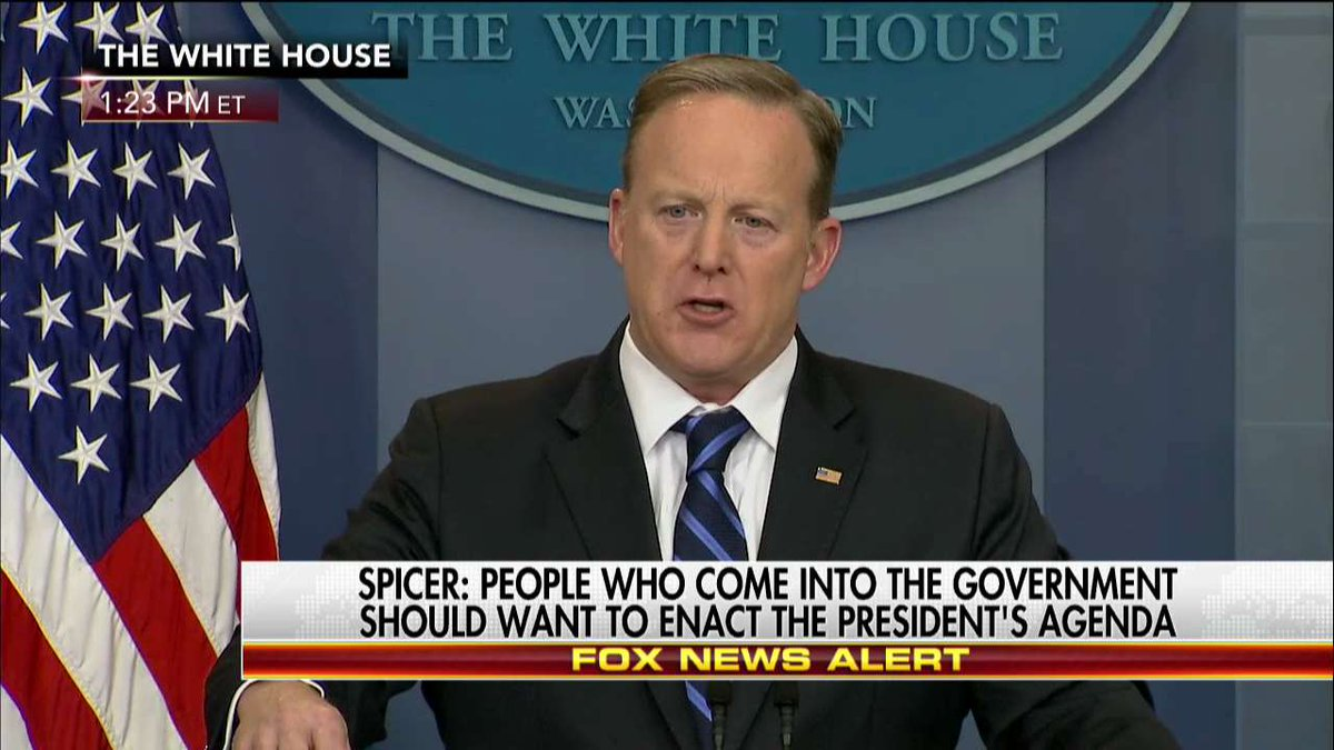 .@PressSec: 'To allow people to fill a job... who don't share the vision and agenda of @POTUS would be silly on its face.'