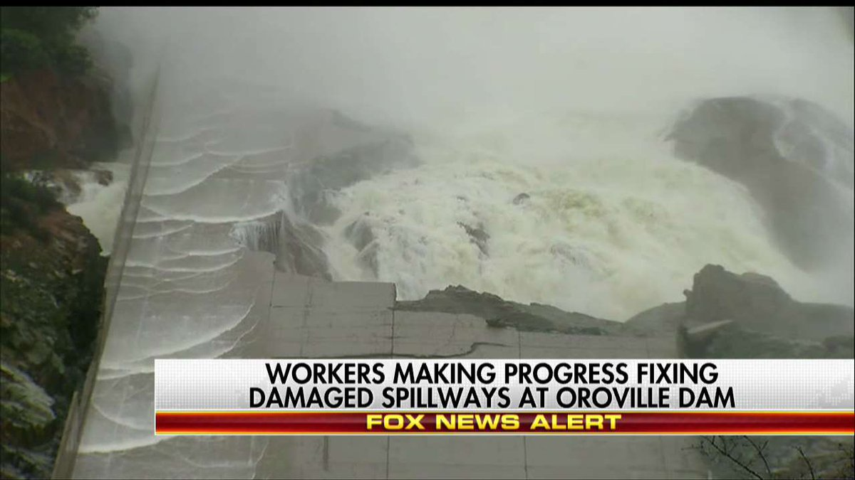 Workers making progress fixing damaged spillways at Oroville Dam.