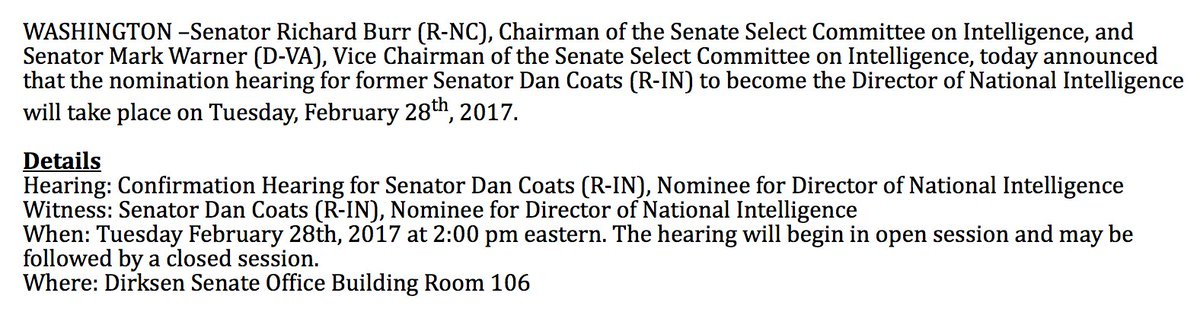NEW: Senate Intelligence Committee sets confirmation hearing for DNI nominee Dan Coats for February 28th https://t.co/Yztok5gRBG