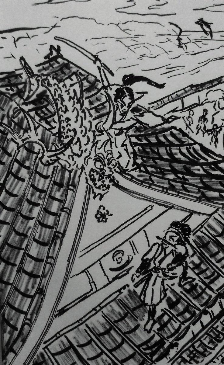 南総里見八犬伝、前半の名場面の一つ、犬塚信乃と犬飼現八の芳流閣楼上の戦い。浮世絵だと正面からとか見上げるのが多いので空撮