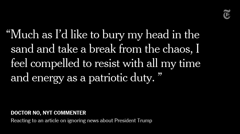 One NYT reader's reaction to an article about ignoring all President Trump news