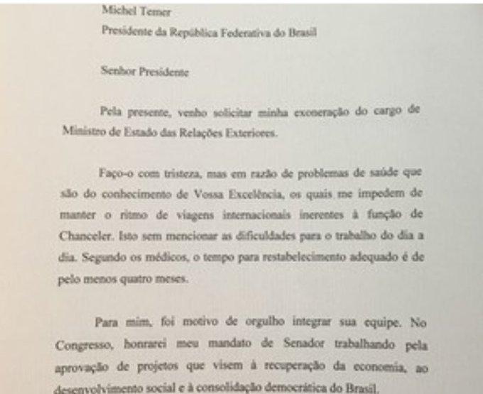 Em carta Serra diz que pede demissão do governo Temer com tristeza. Veja: