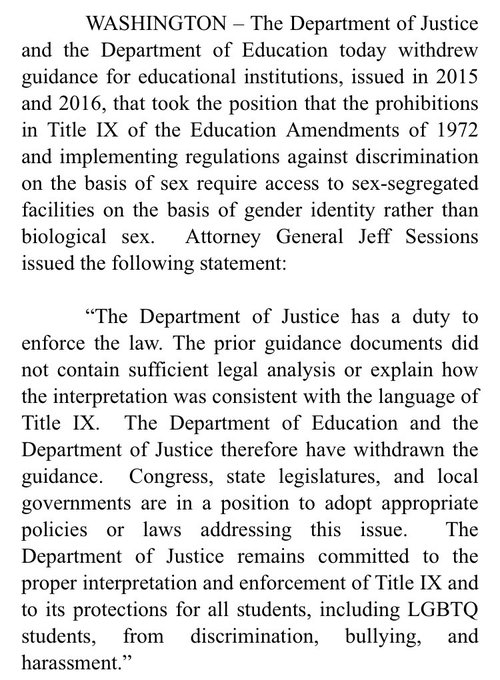 AG Jeff Sessions statement on Trump admin rolling back protections for transgender students, reversing federal guidance re: bathroom use