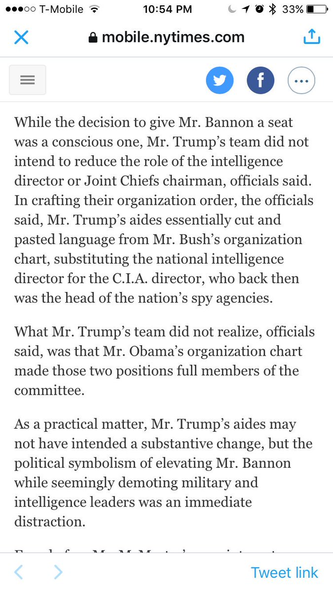 Wait the White House's current defense (!?!?) is that they reorganized the National Security Council by accident? https://t.co/WeBjFoTTmO