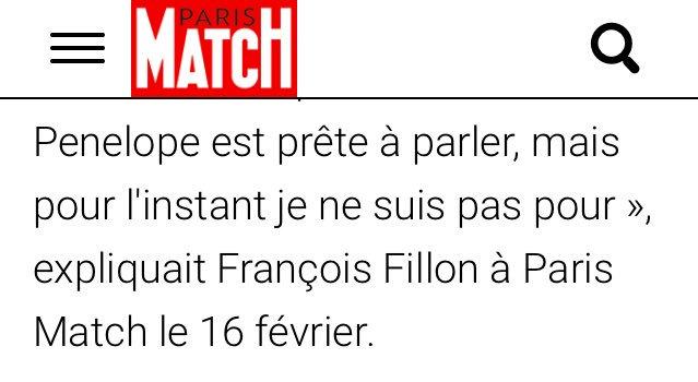 'Penelope est prête à parler, mais pour l'instant je ne suis pas pour', explique #Fillon. (Le même qui dénonçait la 'misogynie' du Canard.)