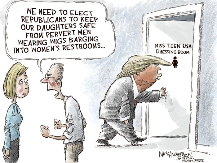 Perverts in Bathrooms... For more toons click the link: https://t.co/itVO6mq7j0 #trump #transgender #txlege #TBT