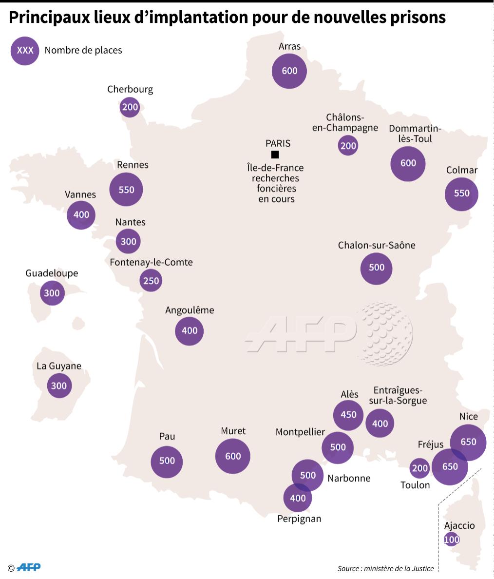 Les principaux lieux d'implantation des nouvelles prisons #AFP par @AFPgraphics