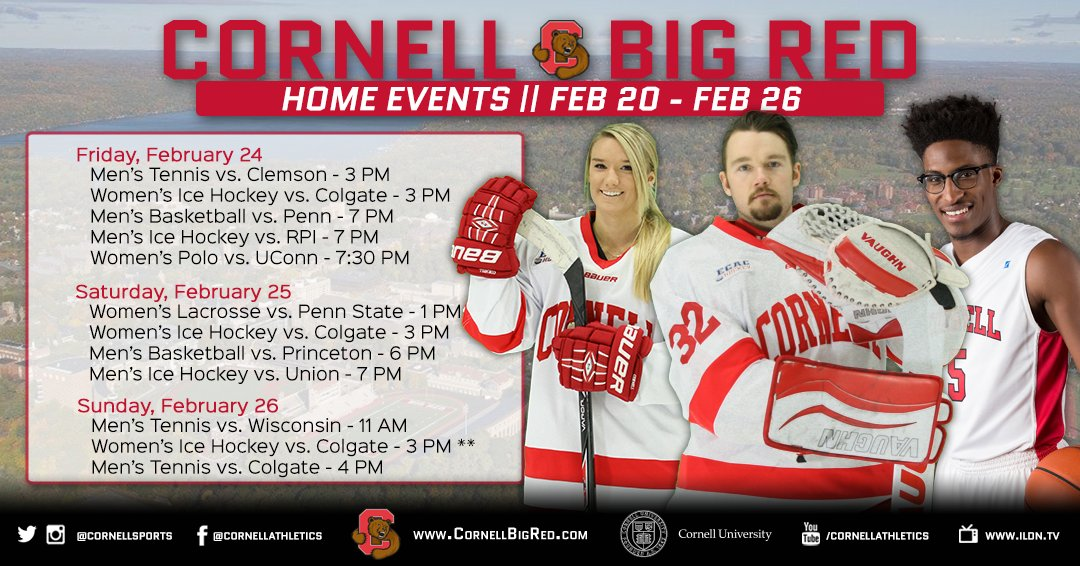 RT @CornellSports: Come cheer on the Big Red at all the home events this weekend! #LGR #CornellBigRed https://t.co/TqTl7LRLIK