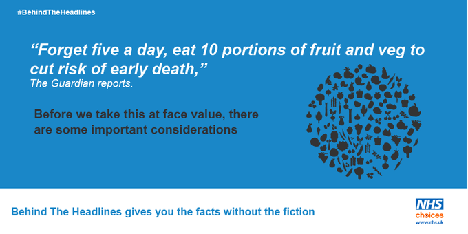 Five-a-day of fruit and veg is good, but '10 is better'. More from #BehindTheHeadlines on this news story: https://t.co/CTyJRhG35g