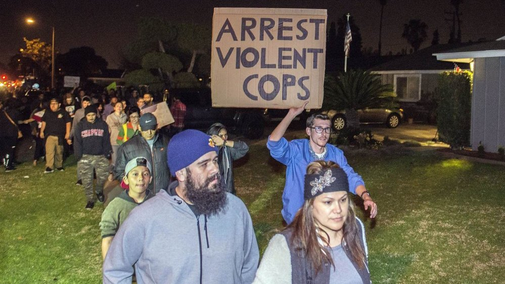 Protests after off-duty US police officer fires gun during clash with teens in Anaheim