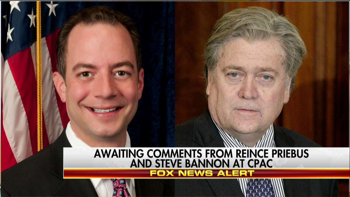 Programming Alert Awaiting comments from @Reince Priebus and Steve Bannon at #CPAC. #CPAC2017