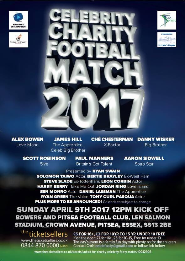 Get Your Tickets To The Annual Essex Charity Footy Match. Stars from X Factor, Apprentice, Big Brother confirmed! https://t.co/SOPDDOANBF