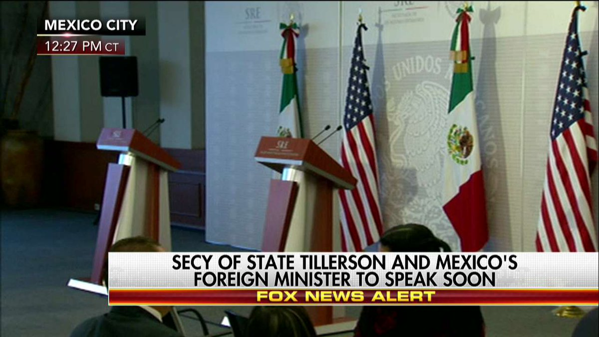 News Alert Secretary of State Tillerson and Mexico's foreign minister to speak soon.