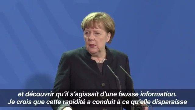 La chancelière allemande Angela Merkel prône la vigilance face aux 'fausses informations' #AFP