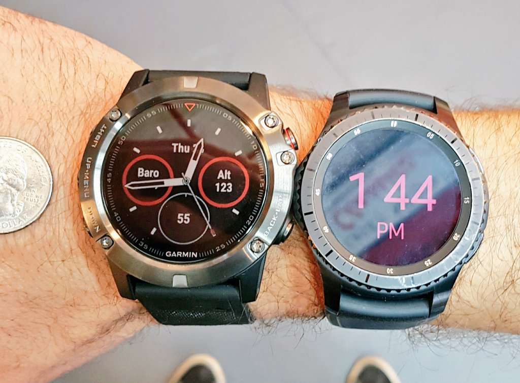 Got the Garmin Fenix 5X as my new running watch. It's big but not huge compared to my Gear S3.  keeping the S3. Garmin is for running 🏃 https://t.co/8IsNeFOSLP