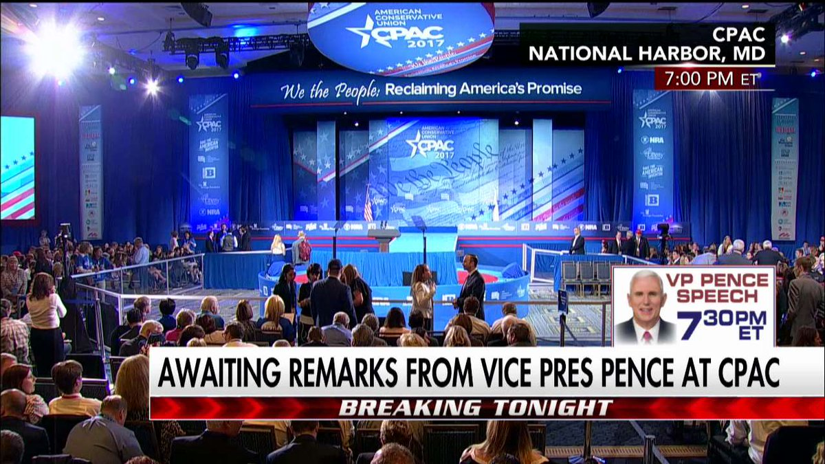 Awaiting remarks from @VP Pence at #CPAC2017. Tune in to #First100 now!