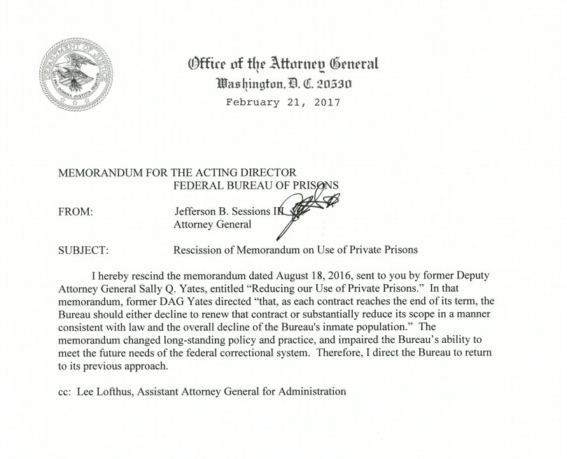 Memo from AG Sessions rescinding Obama-era memo on phasing out private prisons.