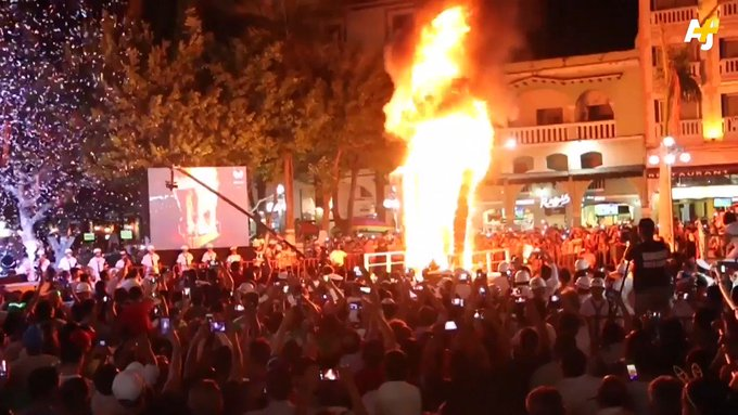 This carnival celebration in Veracruz, Mexico was lit after a 'wall' was symbolically set on fire.
