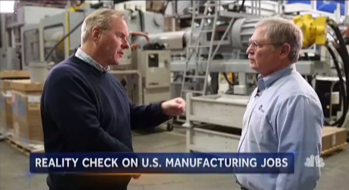 Reality check: What it's like inside a modern, growing US manufacturing company.  @kevtibs reports now on @NBCNightlyNews.