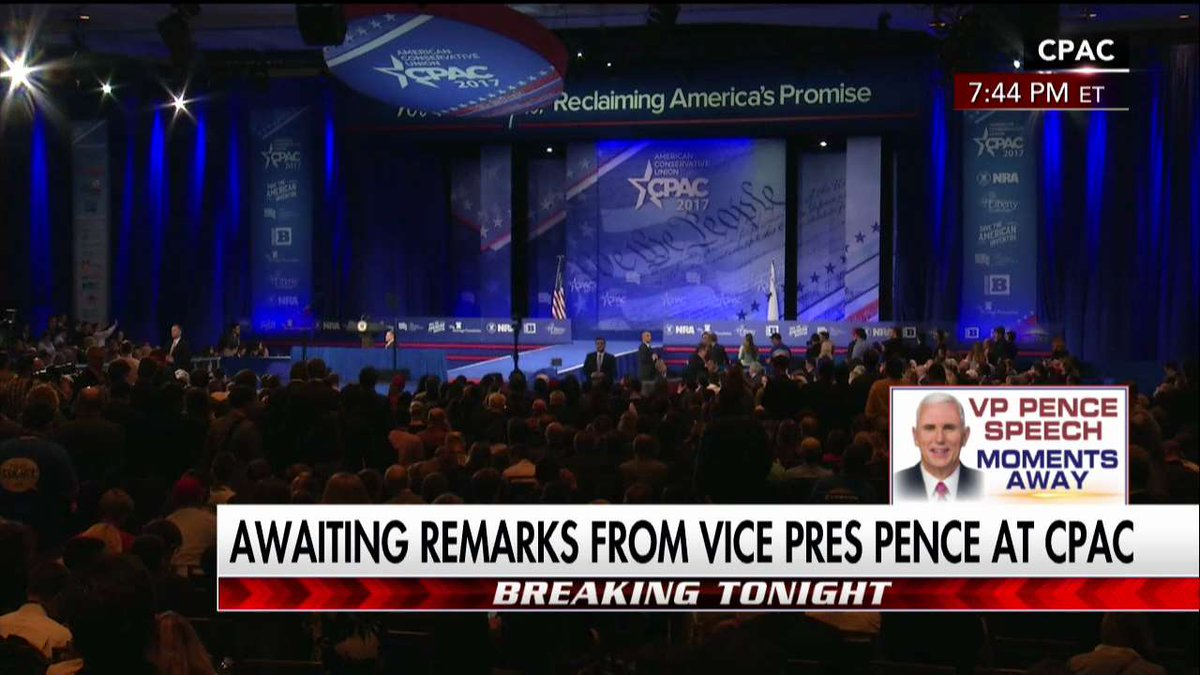We're awaiting remarks from @VP at #CPAC2017. Tune in to Fox News Channel now.
