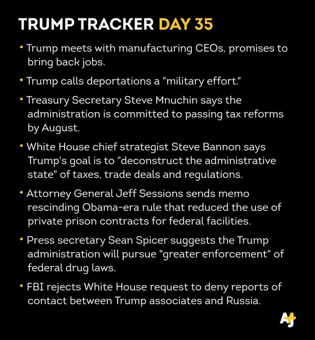Take the dive into day 35.  Subscribe for more #TrumpTracker. https://t.co/kYOzzrLbI6