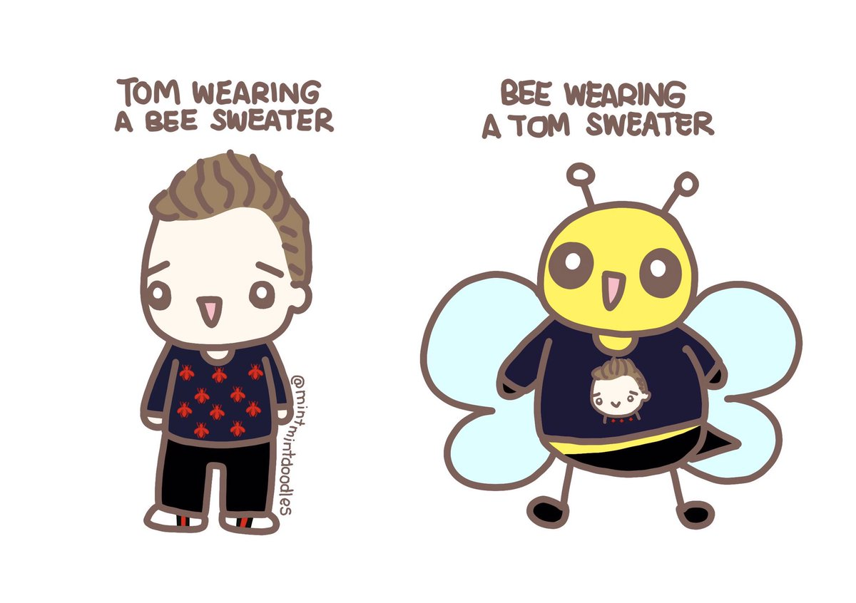 RT @mintmintdoodles: I am terrible at making jokes and drawing bees 😂🐝 #tomhiddleston in #gucci https://t.co/j95UvJ7vv5
